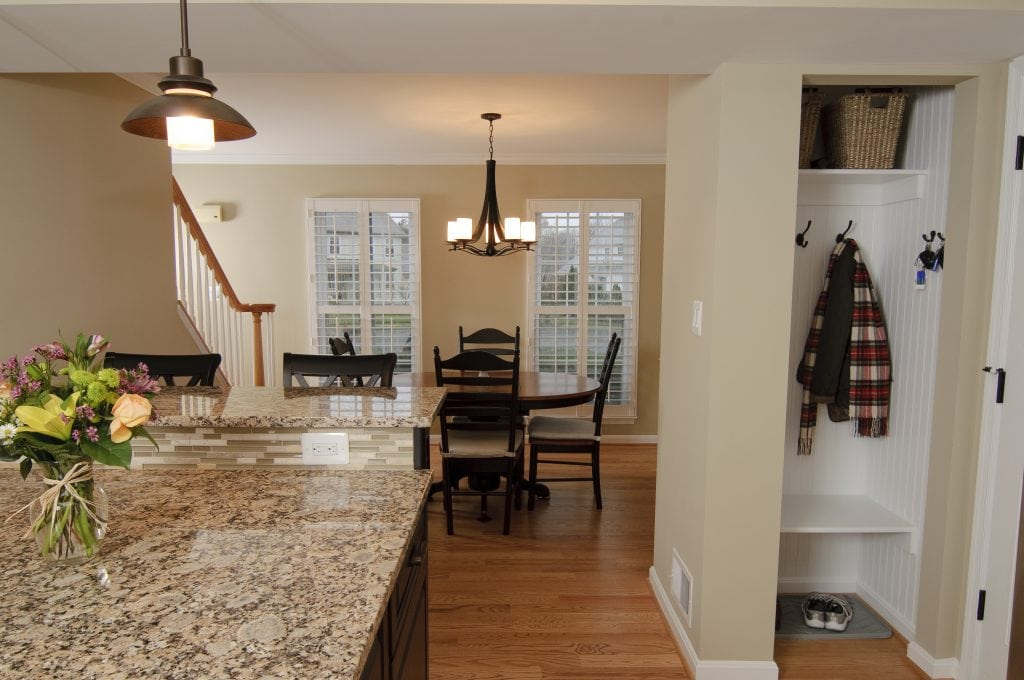 kitchen island boot closet dining area